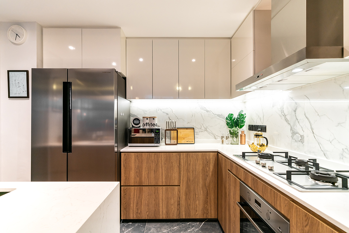 squarerooms fineline design home renovation condo unit eclectic style bright minimalist kitchen wood marble