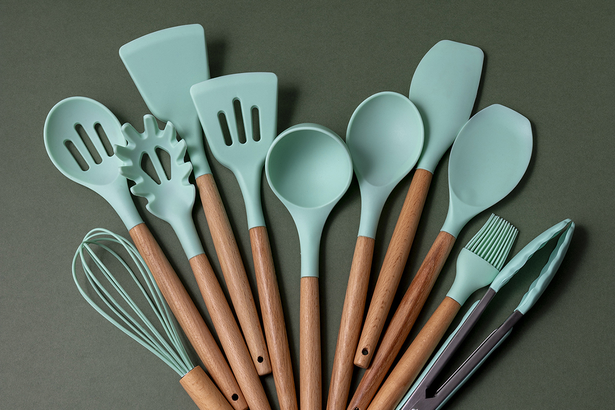 squarerooms cookware kitchen tool set wooden handles silicone tips mint blue green turquoise