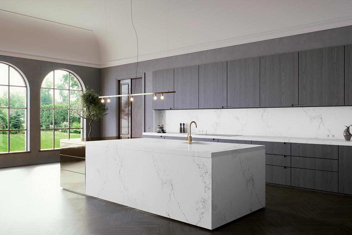 squarerooms caesarstone kitchen counter empire white quartz island