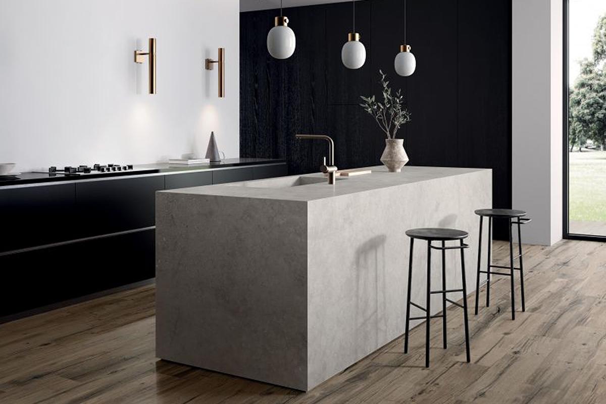 squarerooms minimalist modern kitchen design white quartz island wooden floor tiles hafary nordik wood