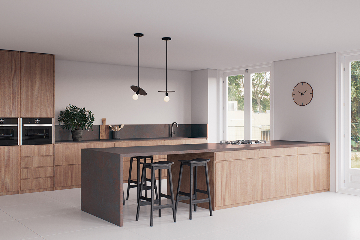 squarerooms caesarstone kitchen dark collection engineered quartz counter surface light wood scandinavian