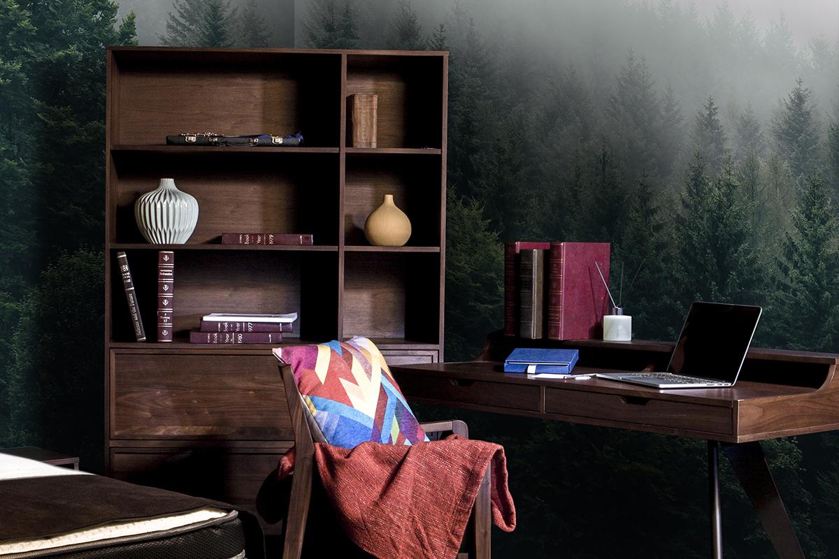 squarerooms commune dark wooden desk and shelf furniture vintage look
