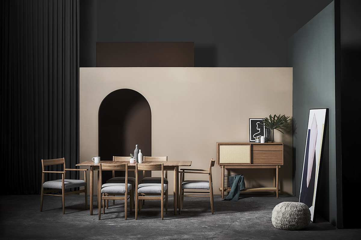 squarerooms commune furniture selection moody cream pink wall