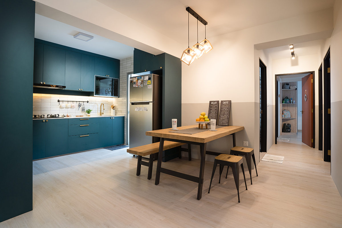 squarerooms hdb renovation minimalist design blue kitchen dining room open space wooden table