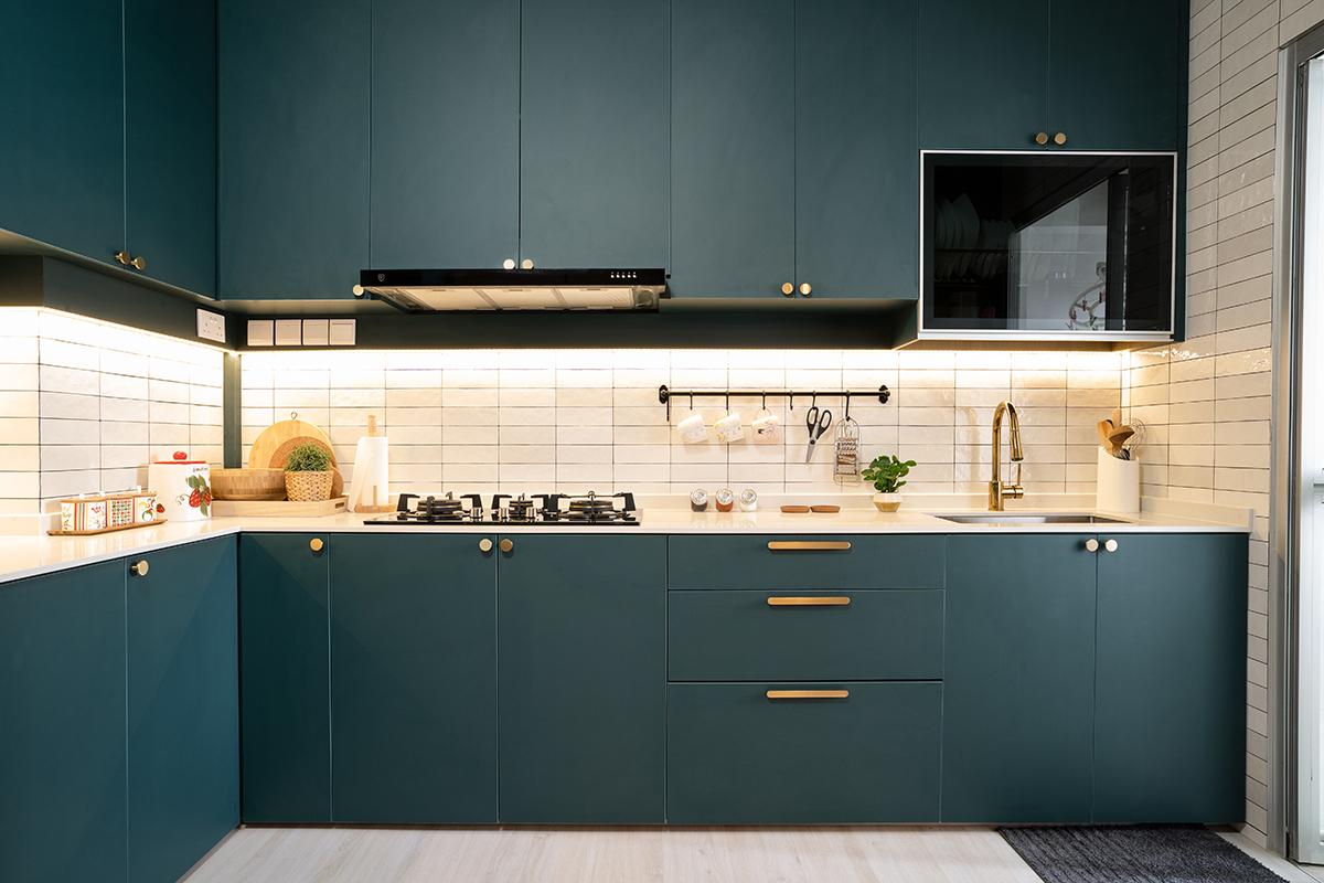 squarerooms hdb renovation minimalist design blue kitchen white backsplash