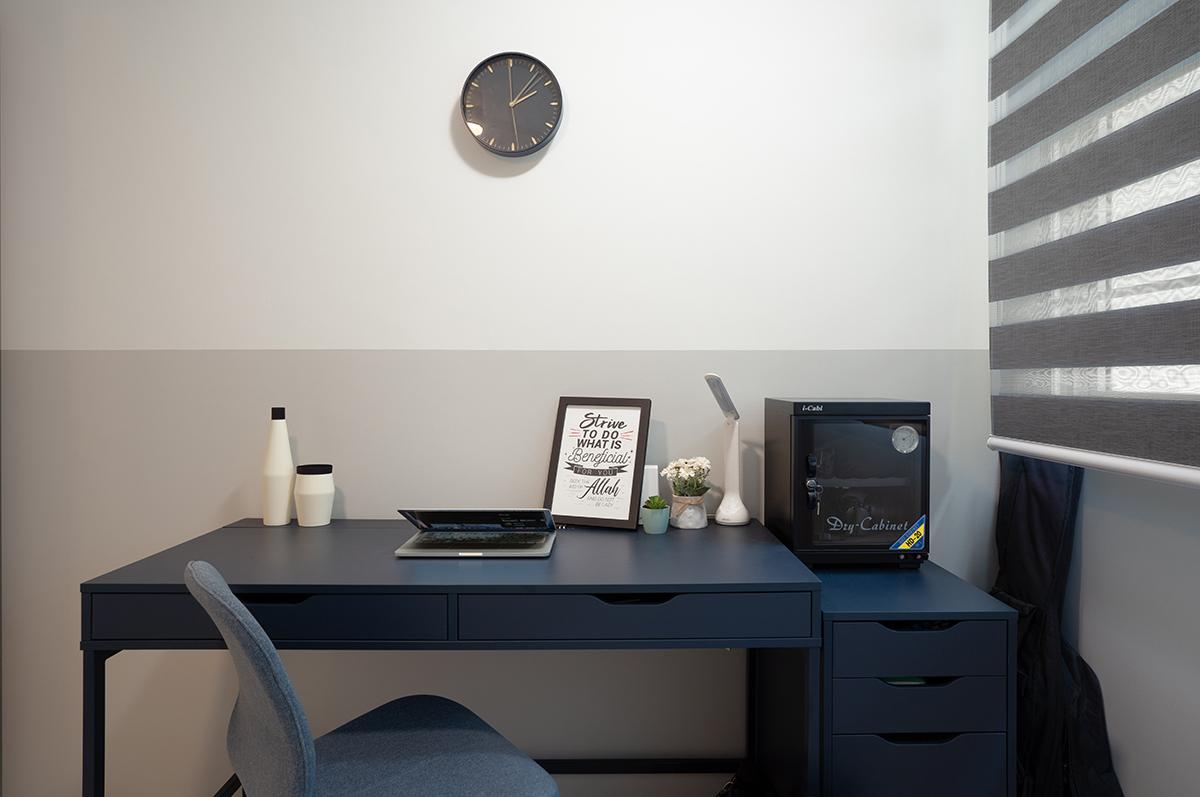squarerooms hdb renovation minimalist design home office monochromatic black white ikea desk