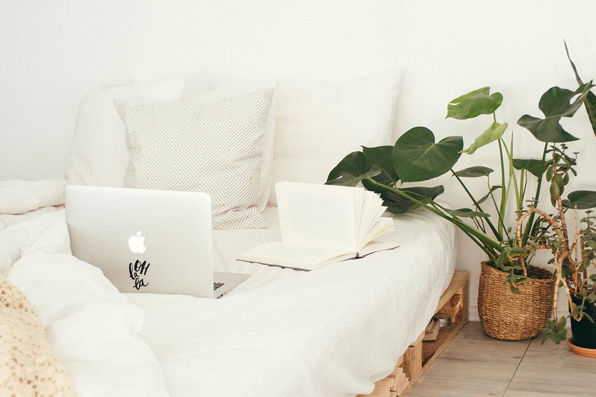 squarerooms Daria Shevtsova bed white sheets minimalist aesthetic instagrammable plant bedroom green laptop