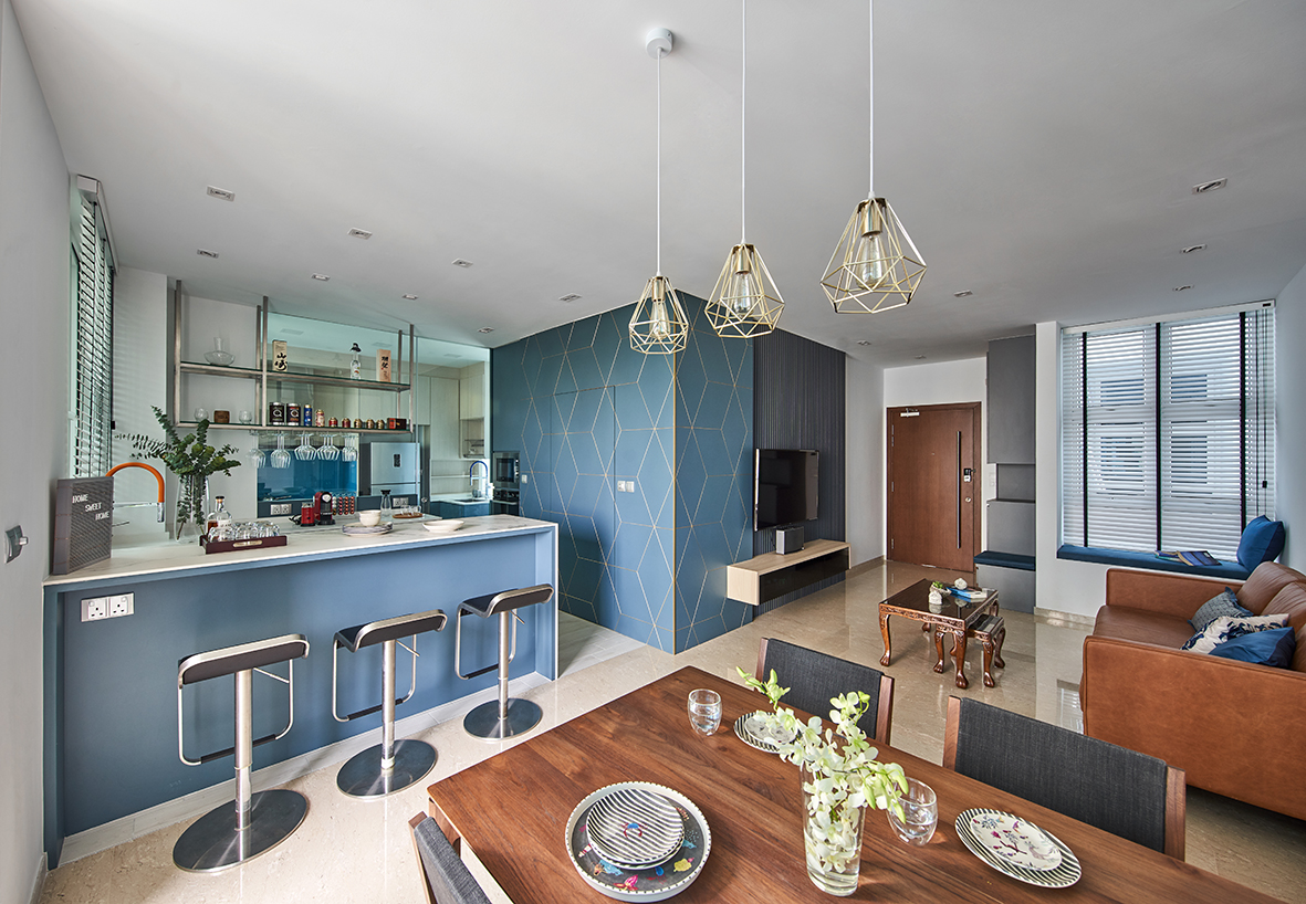 squarerooms ideasxchange home renovation interior design contemporary condo blue feature wall living room wooden dining table kitchen bar counter