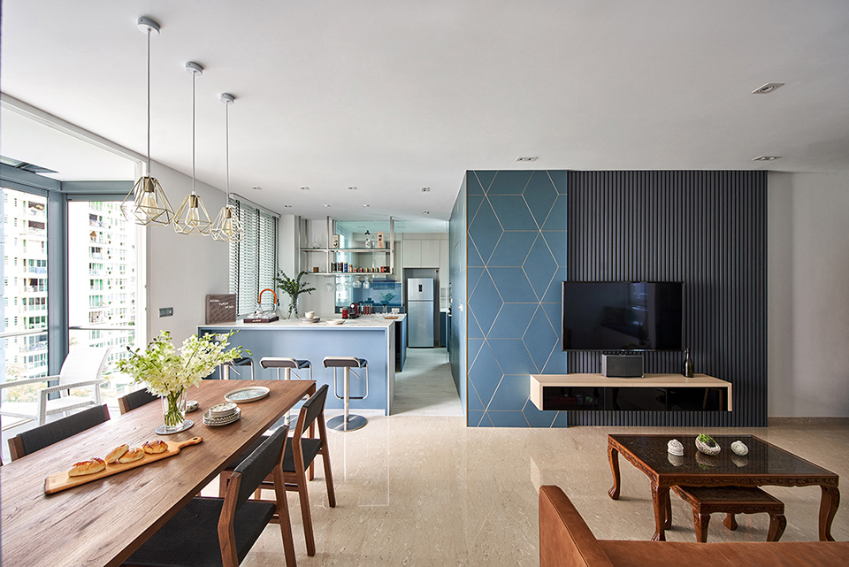 squarerooms ideasxchange home renovation interior design contemporary condo blue feature wall living room wooden dining table