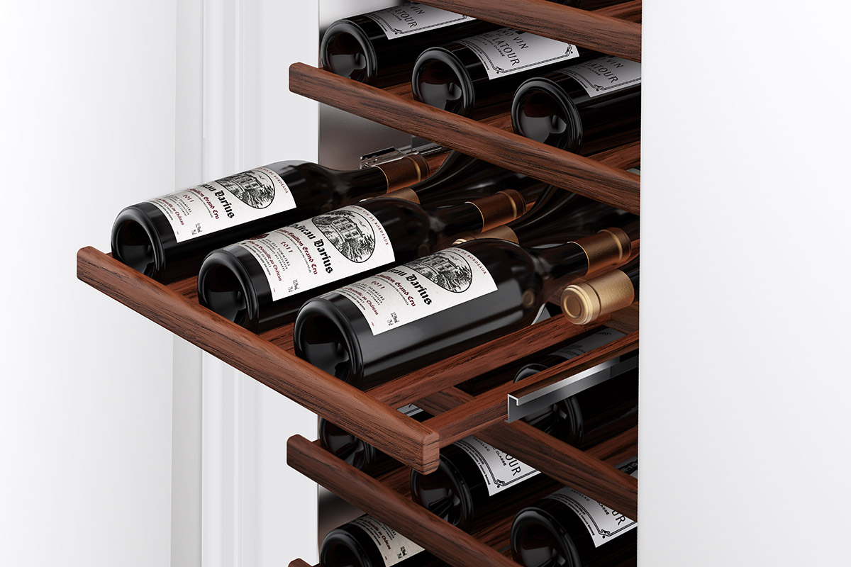 squarerooms vzug new luxury fridge wine cooler with bottles detail