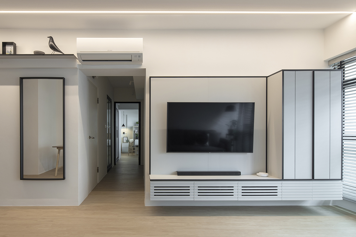 squarerooms d'marvel scale modern minimalist monochromatic black and white home design living room tv