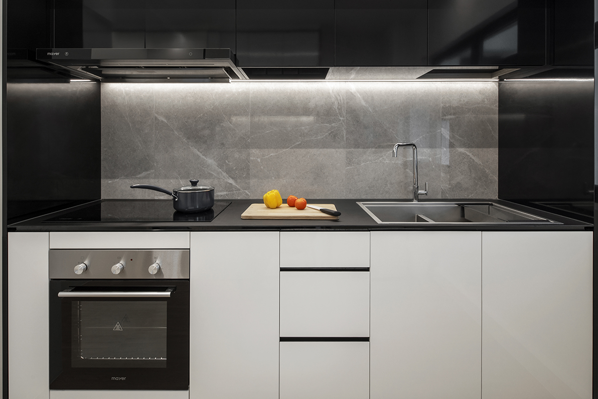 squarerooms d'marvel scale modern minimalist monochromatic black and white home design kitchen cabinets oven