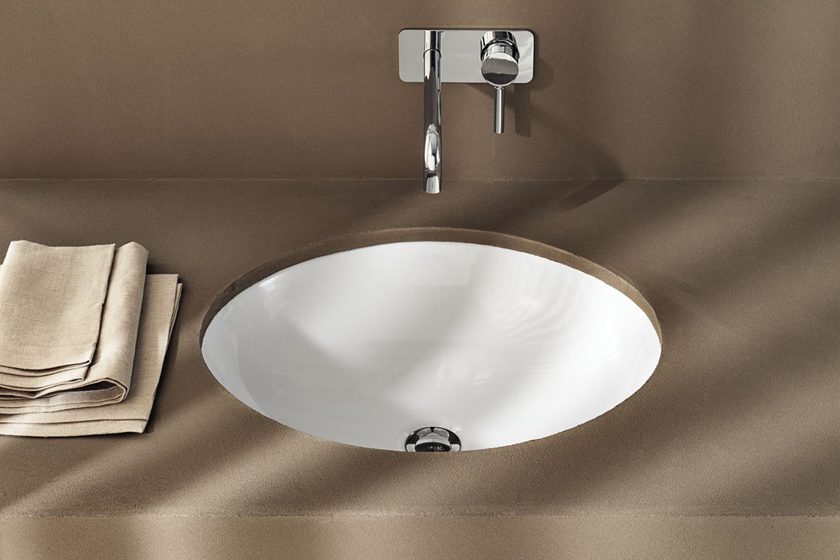 squarerooms bathroom geberit variform washbasin white ceramic sink luxurious countertop round brown