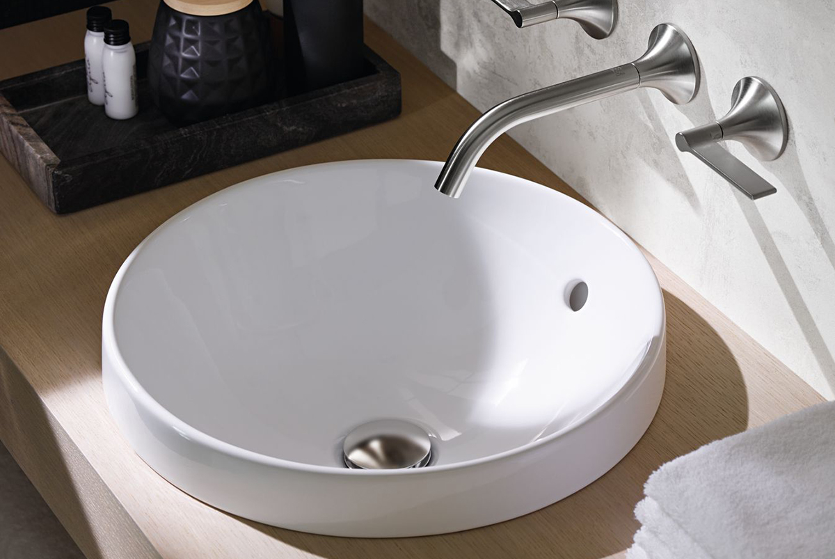 squarerooms bathroom geberit variform washbasin white ceramic sink luxurious countertop round grey