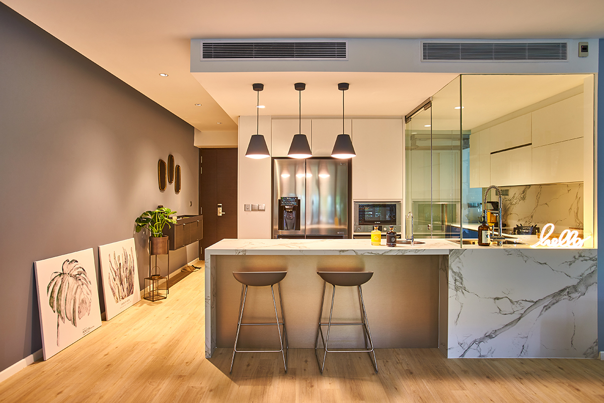 squarerooms bowerman interior design condo renovation blue kitchen open space