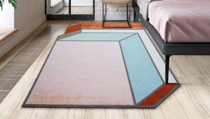 squarerooms iuiga pink blue white red geometric rug bedroom shapes quirky abstract eclectic design