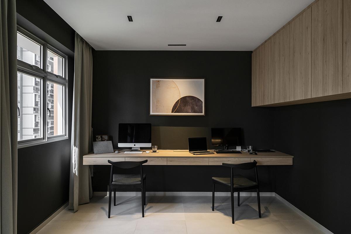 squarerooms mesh werk studio dark minimalist study hdb flat renovation
