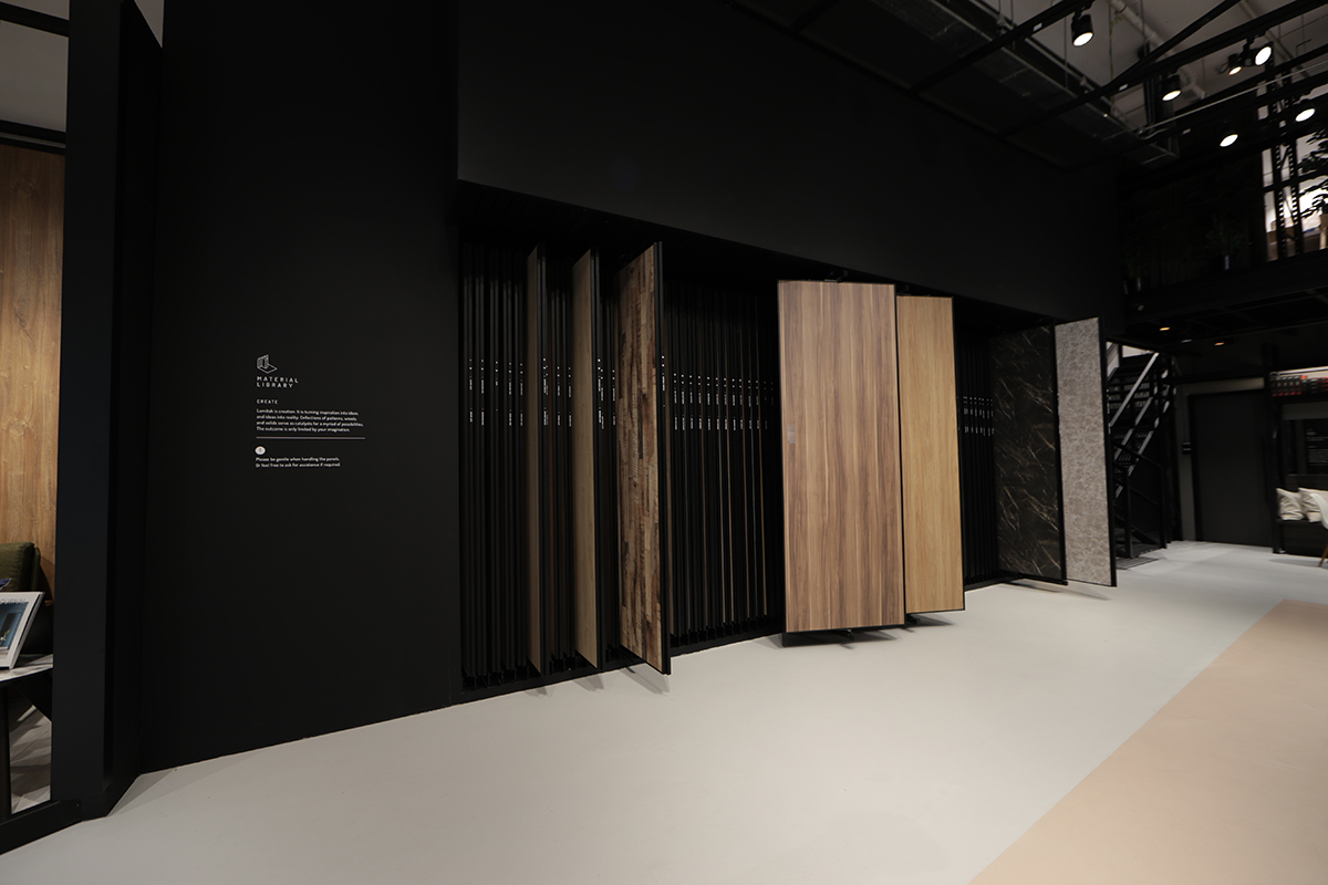 squarerooms lamitak studio showroom laminate tiles samples size wall wood marble stone look selection shop