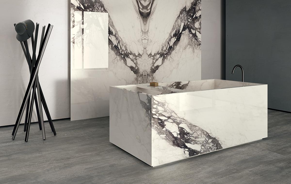 squarerooms bellus laminates marble look walls bathroom white luxury gardenia slabs bathtub
