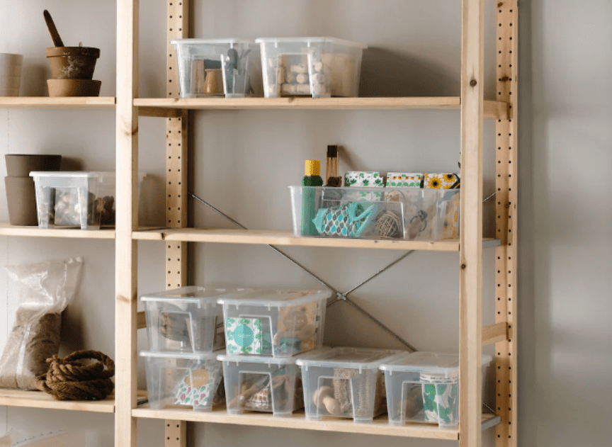 IKEA shelves with transparent boxes