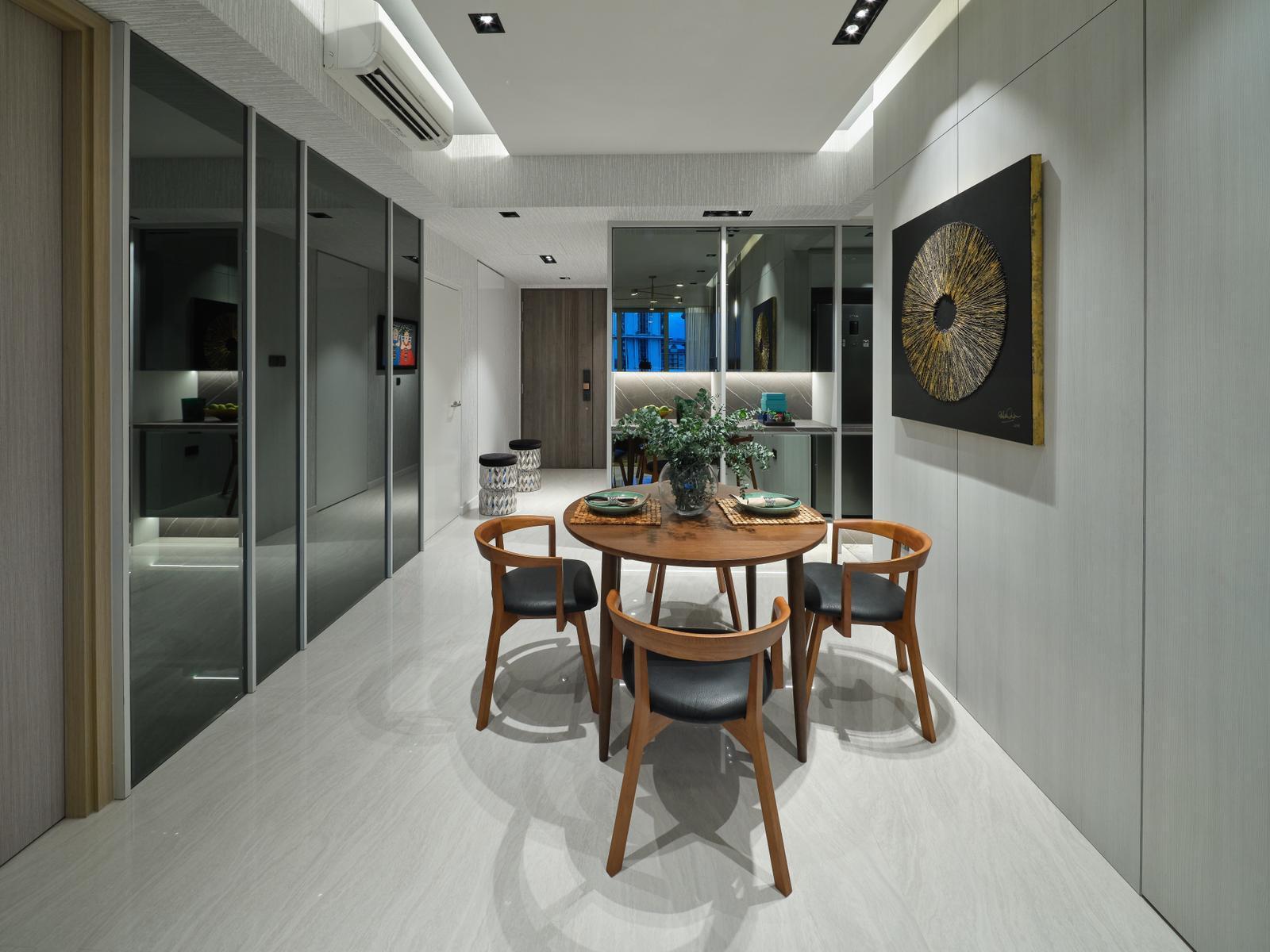 squarerooms spaceone interior design eclectic condominium unit monochromatic bold colourful artwork dining room
