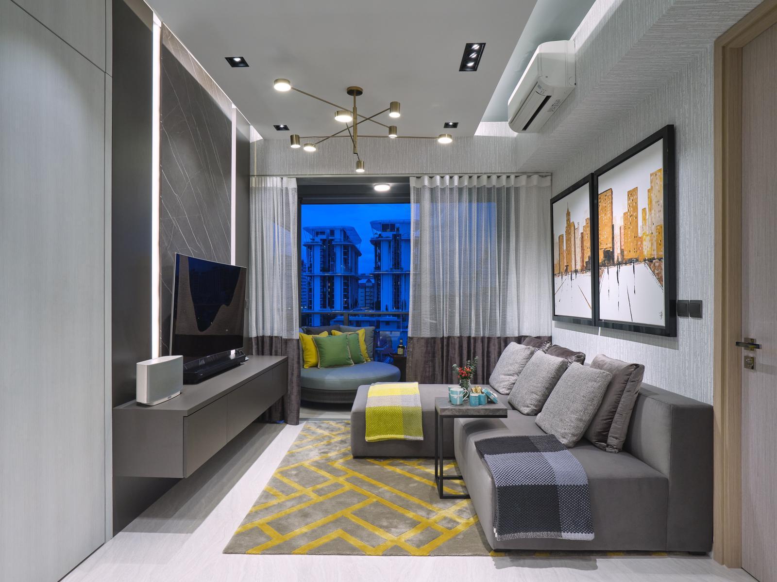 squarerooms spaceone interior design eclectic condominium unit monochromatic bold colourful artwork living room