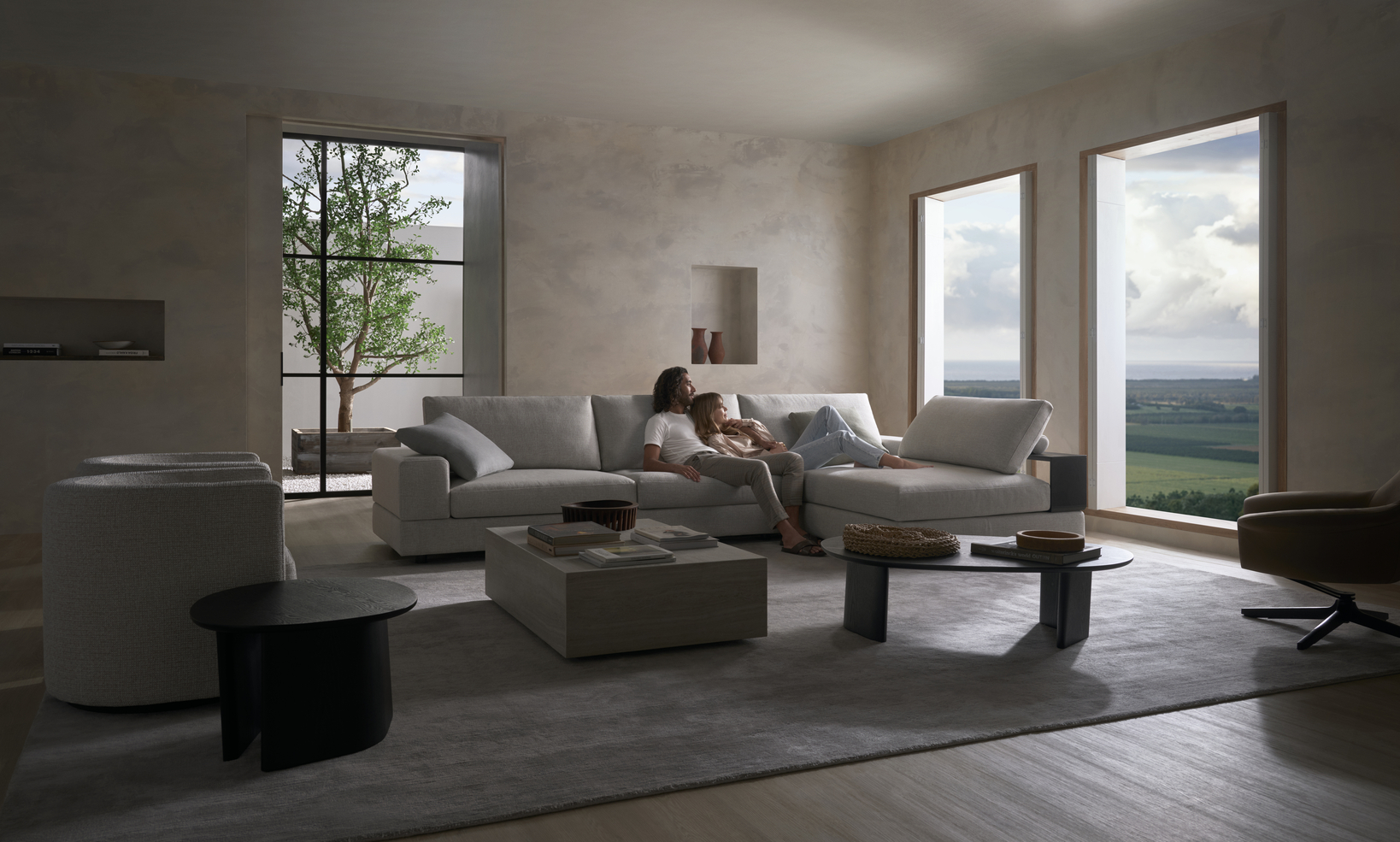 squarerooms king living couch sofa relax couple living room home cosy comfy luxury grey