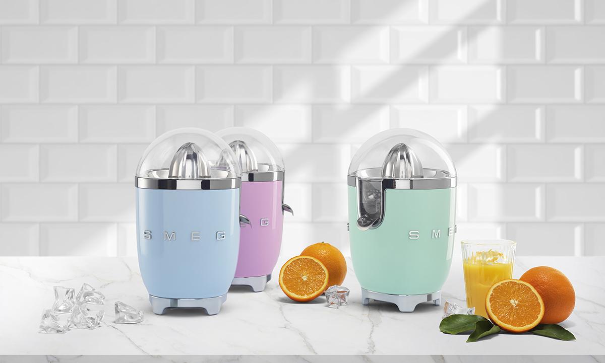 squarerooms smeg kitchen appliances lifestyle blue green pink pastel citrus juicers