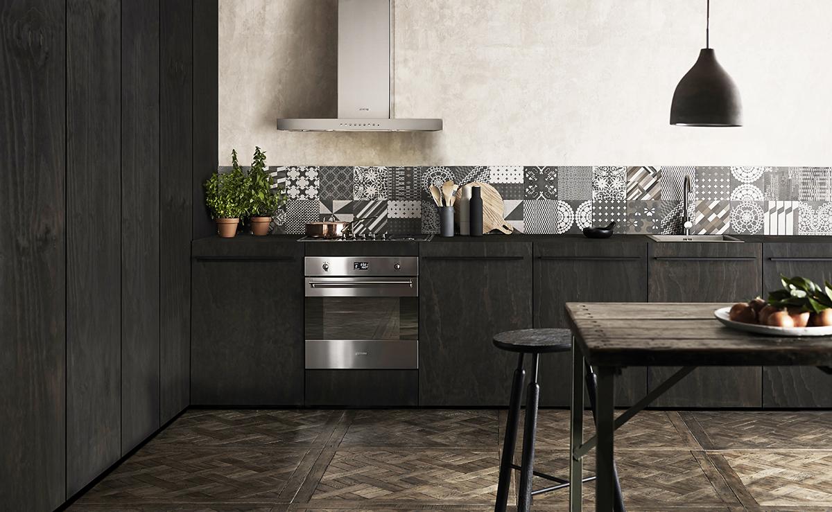 squarerooms smeg kitchen appliances lifestyle oven dark moody wood kitchen table black brown
