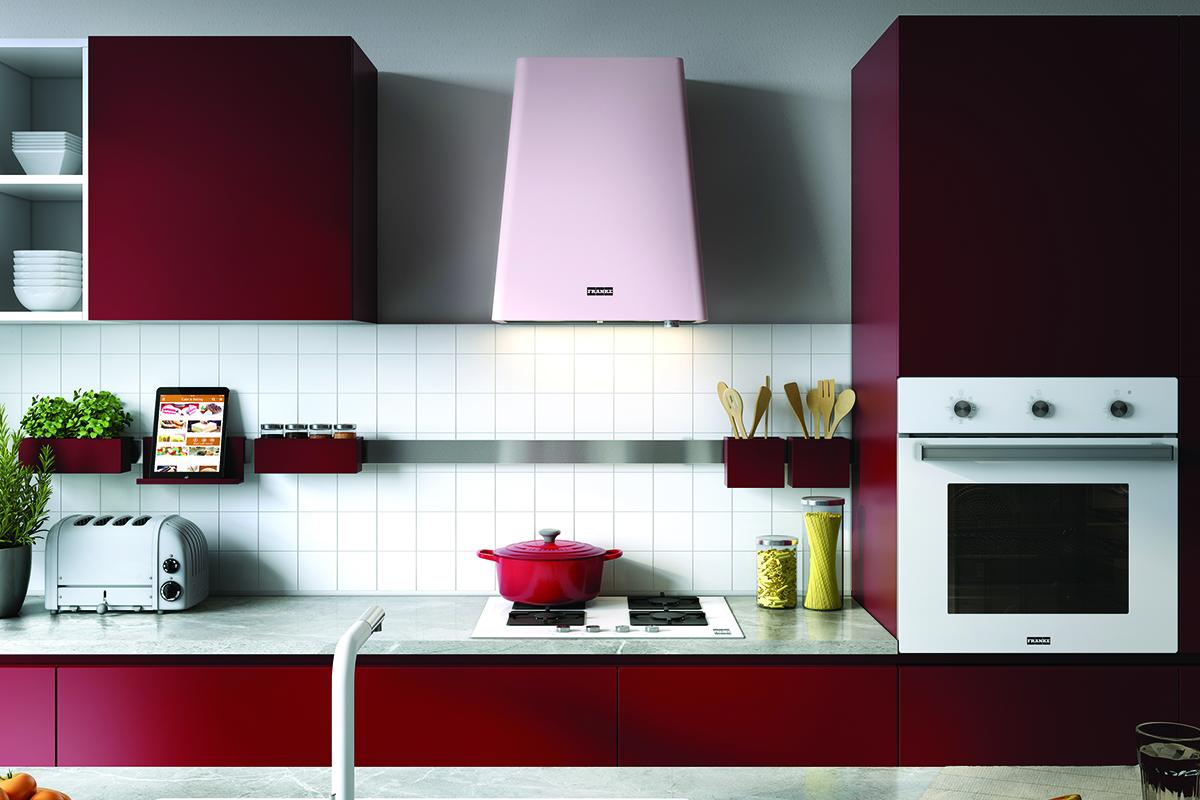 squarerooms kitchen pastel franke hood red cabinets