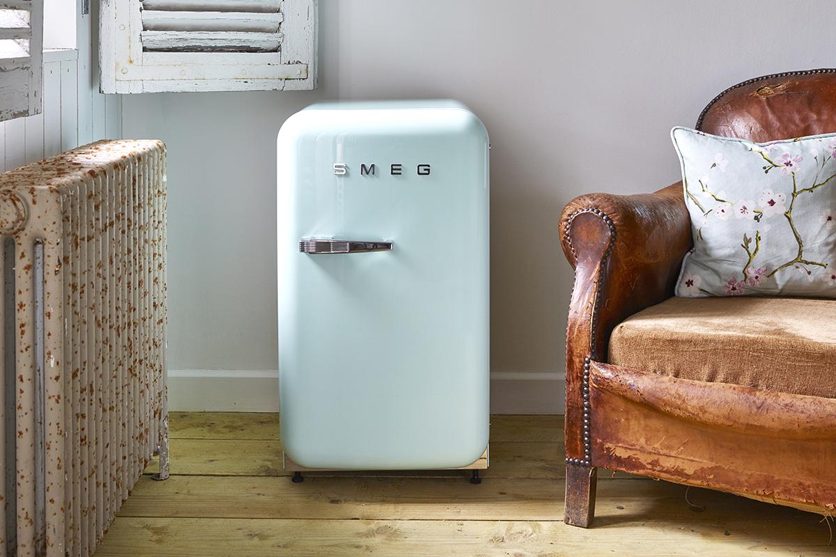 squarerooms smeg fab5 bar fridge pale pastel baby blue retro living room kitchen appliance