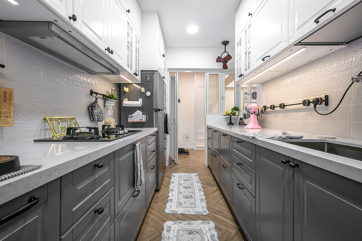 squarerooms fifth avenue interior design resale hdb flat renovation Kitchen grey monochromatic