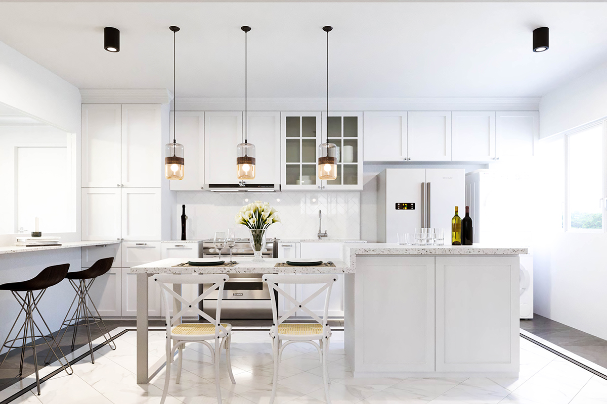squarerooms fifth avenue interior design resale hdb flat renovation Kitchen white open island pendant lights counter