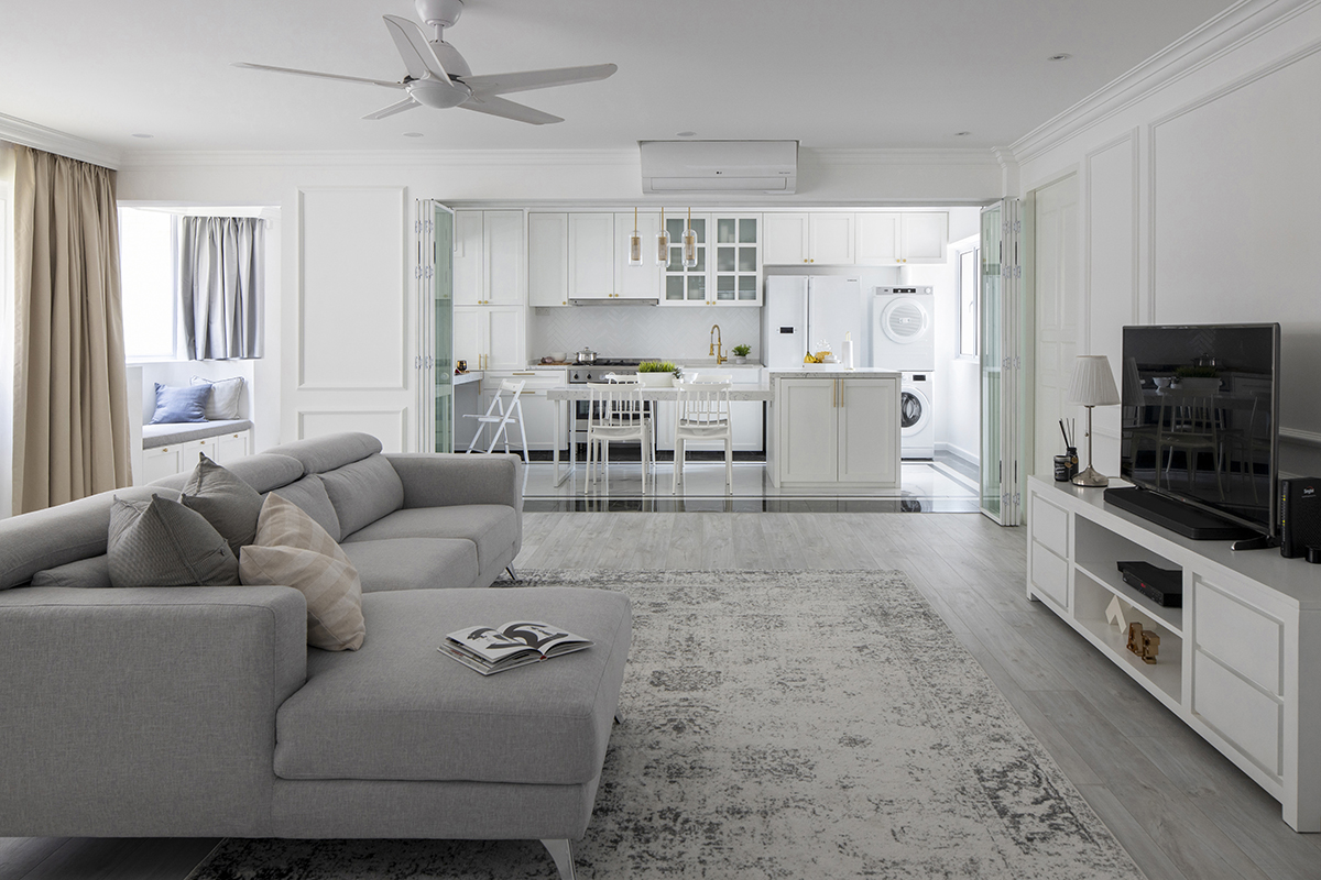 squarerooms fifth avenue interior design resale hdb flat renovation Open-concept living room grey carpet couch tv kitchen