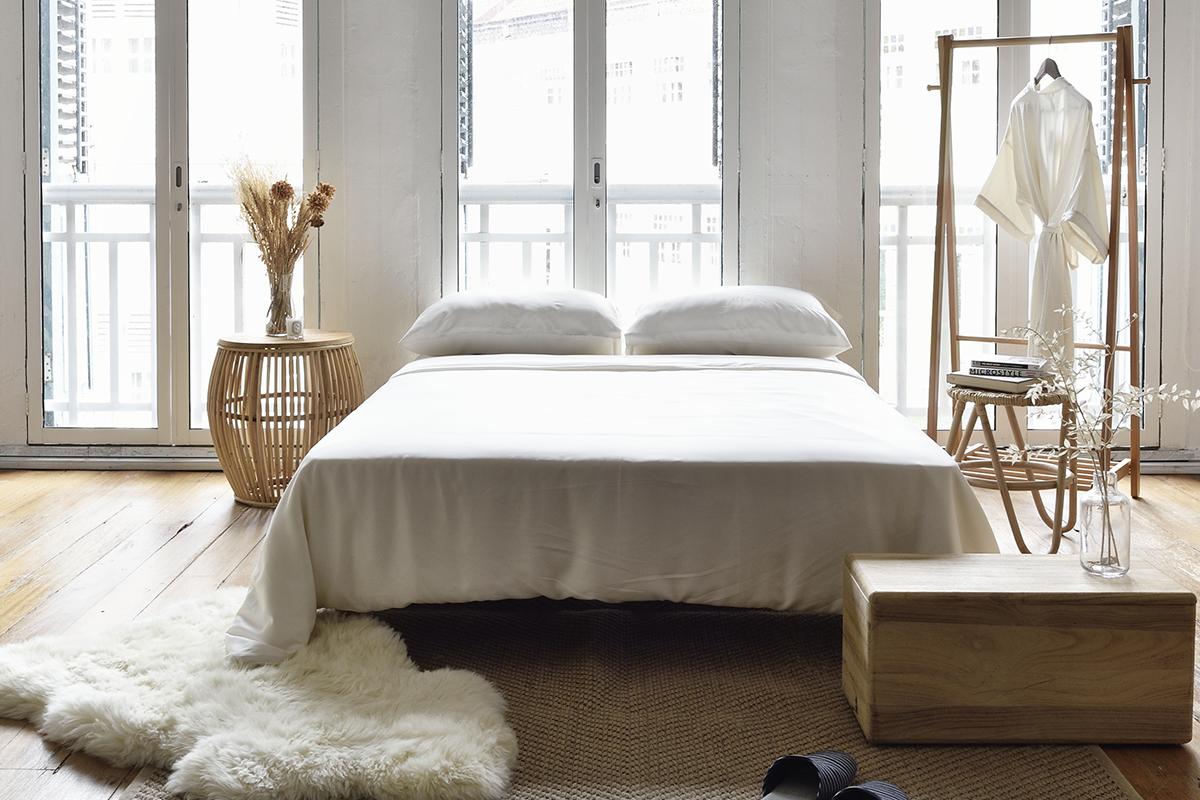 squarerooms sunday bedding bedsheets plants bedroom white minimalist scandinavian cosy wood windows glass light