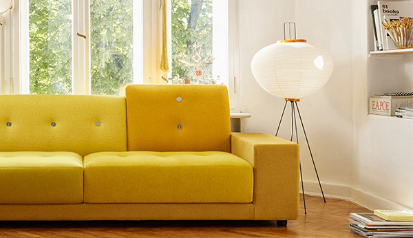 squarerooms Akari 10A floor lamp finnish design shop vitra yellow couch light living room designer iconic colourful bamboo japanese Isamu Noguchi