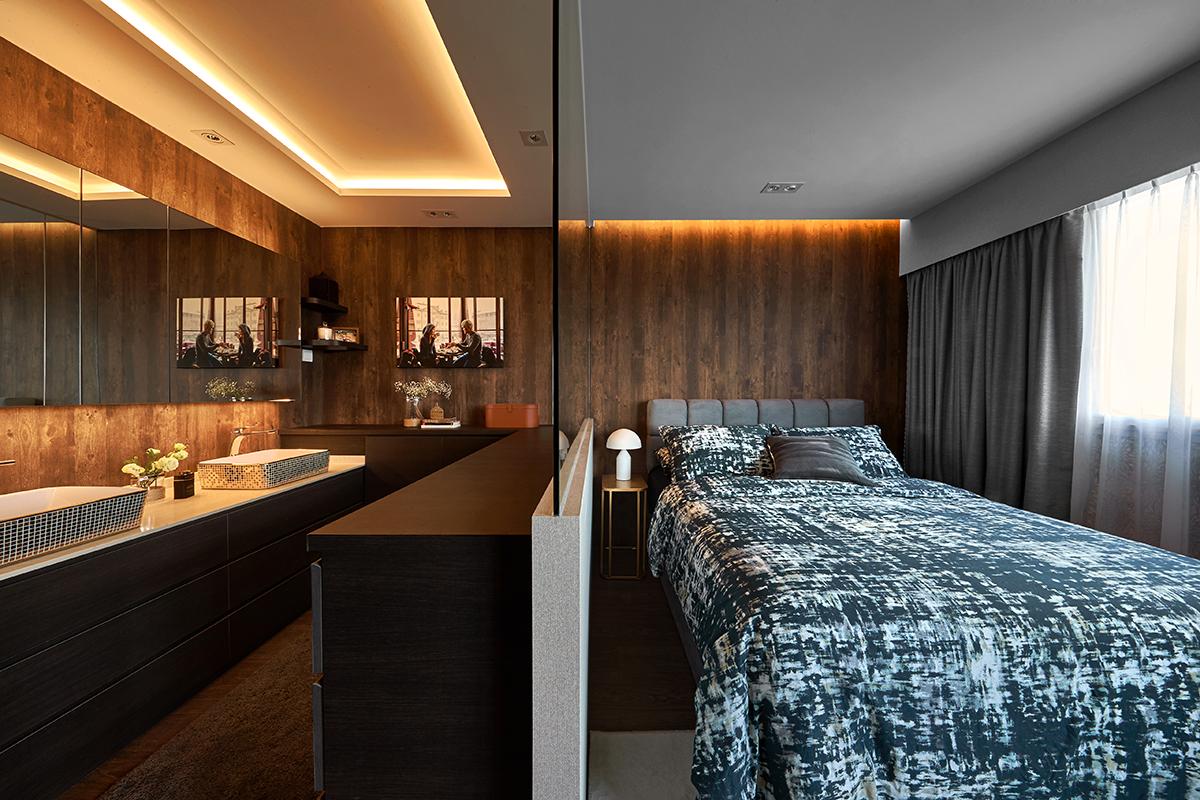 squarerooms ideasxchange bedroom bed blue white bedsheets wood rustic dark brown lights
