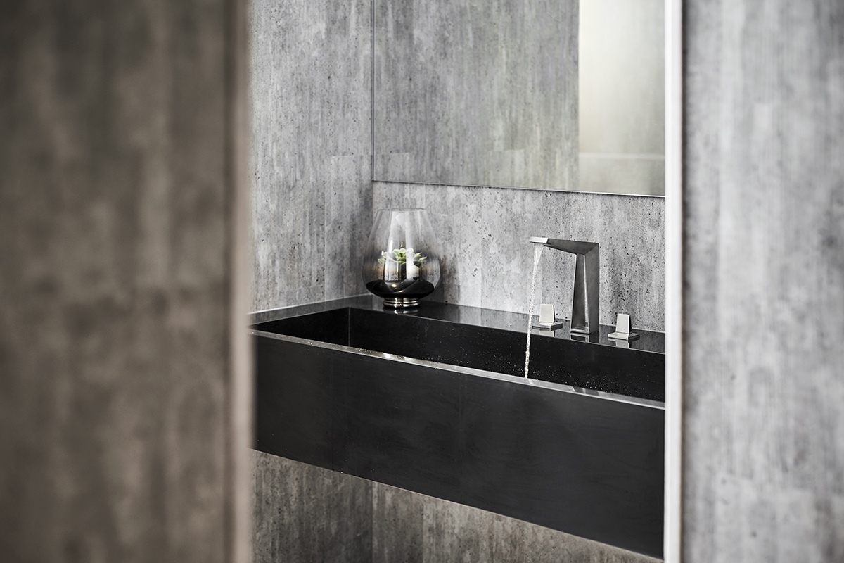 squarerooms grohe icon 3d printed faucet bathroom grey stone sleek minimalist showroom gallery