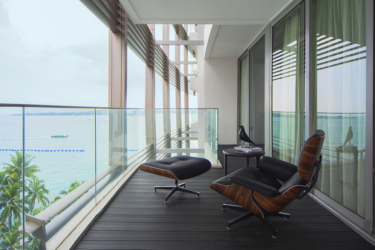 squarerooms distinctidentity condo renovation sentosa cove minimalist modern contemporary Balcony outdoors open sky chill lounge view chair