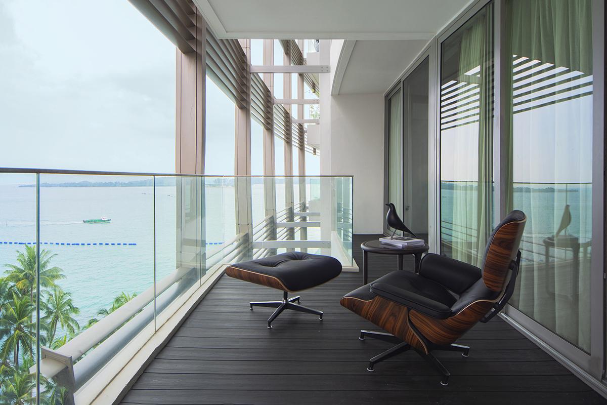 squarerooms distinctidentity condo renovation sentosa cove minimalist modern contemporary Balcony outdoors open sky chill lounge view chair
