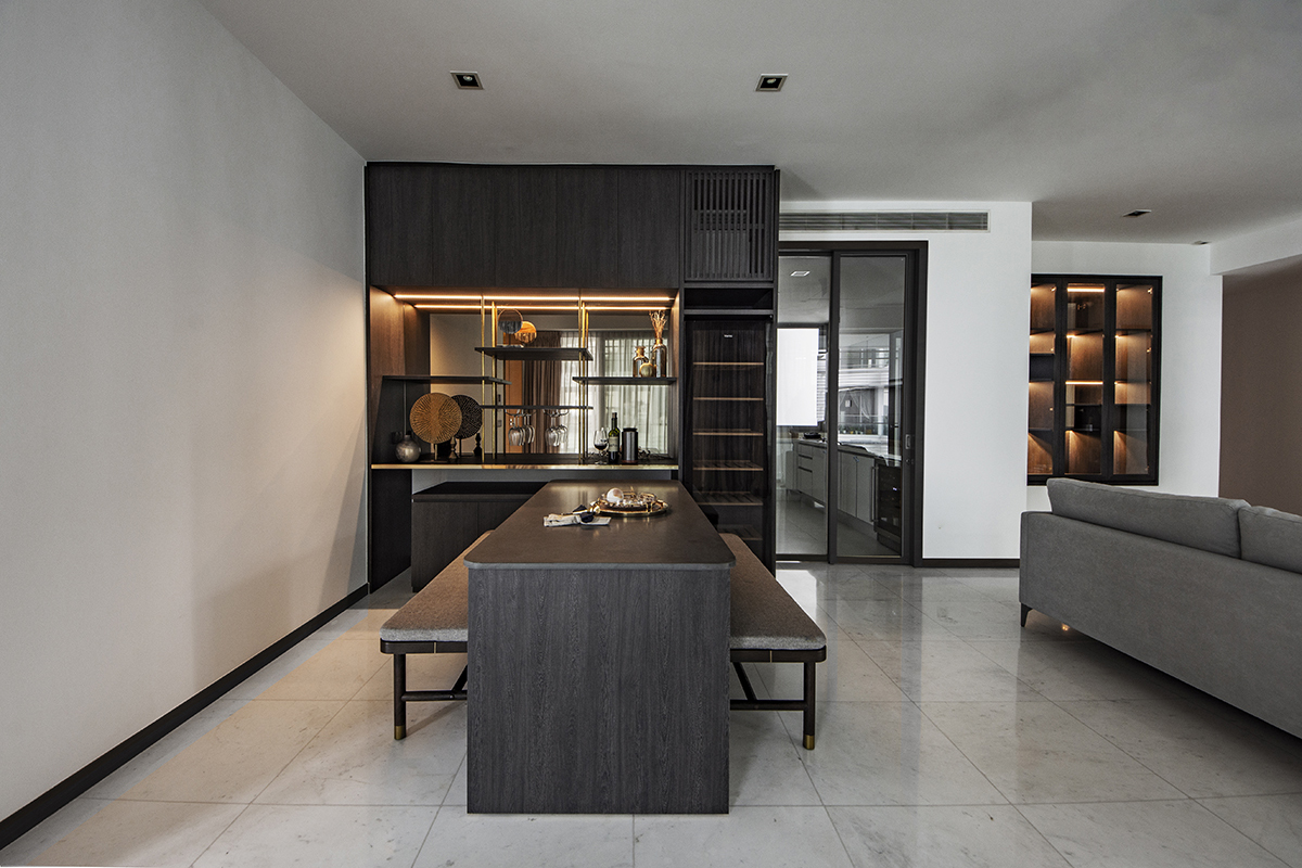 squarerooms distinctidentity condo renovation sentosa cove minimalist modern contemporary Dining area table chairs bar dark moody black brown light monochromatic