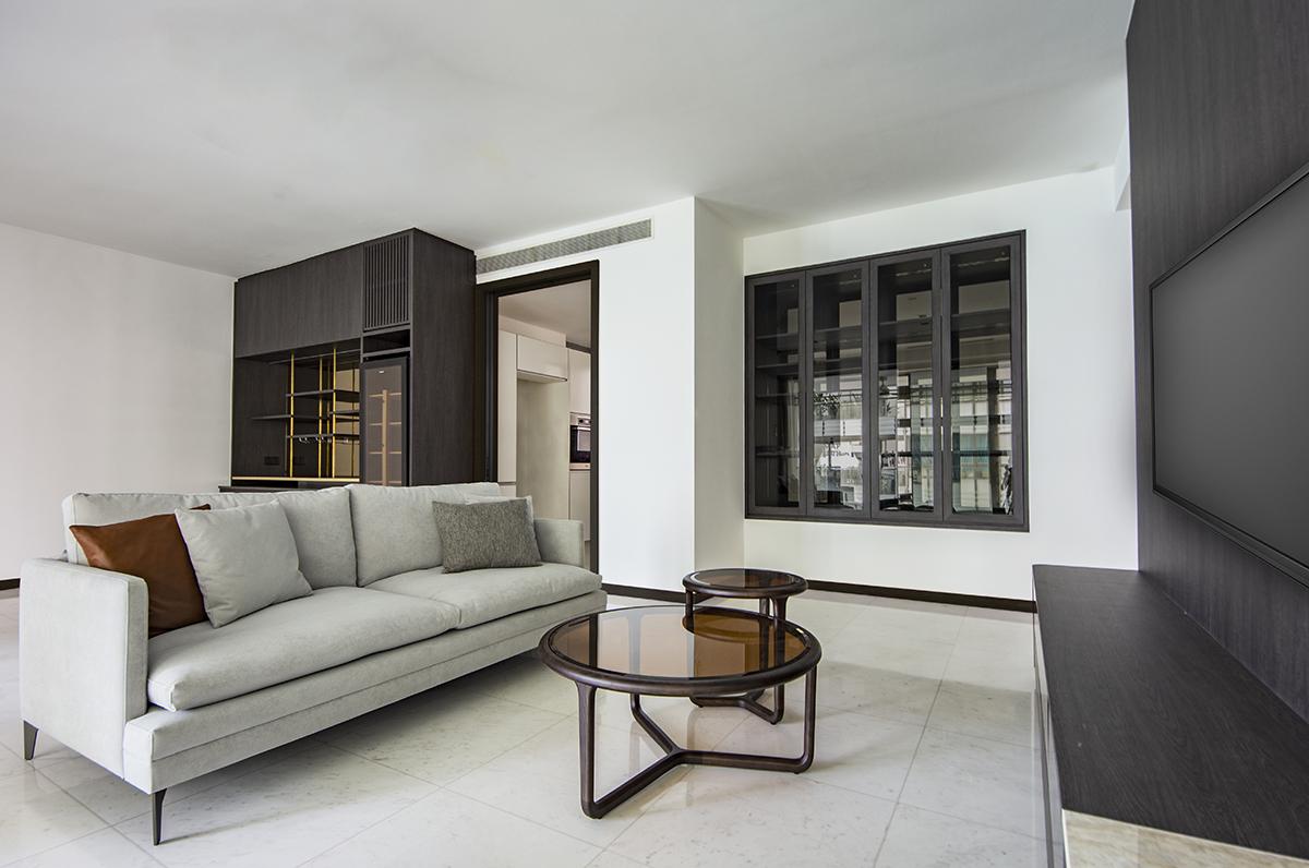 squarerooms distinctidentity condo renovation sentosa cove minimalist modern contemporary Living area room white black monochromatic couch sofa