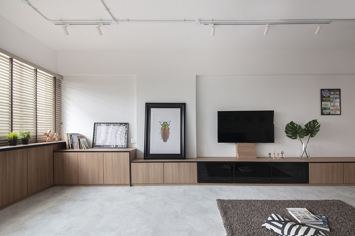 squarerooms the safe haven interiors hdb flat resale 4 room minimalist living room tv console wood