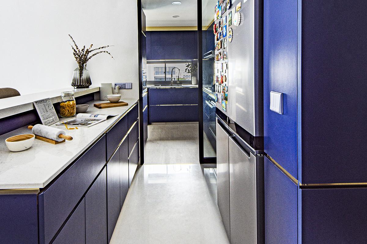 squarerooms distinctidentity modern contemporary condominium condo renovation interior design kitchen blue bold colourful gold bronze