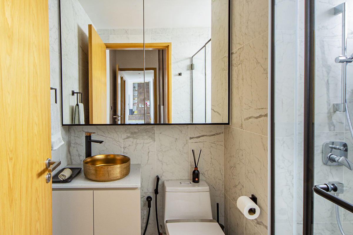 squarerooms distinctidentity modern contemporary condominium condo renovation interior design master main bathroom bronze warm white cream mirror marble