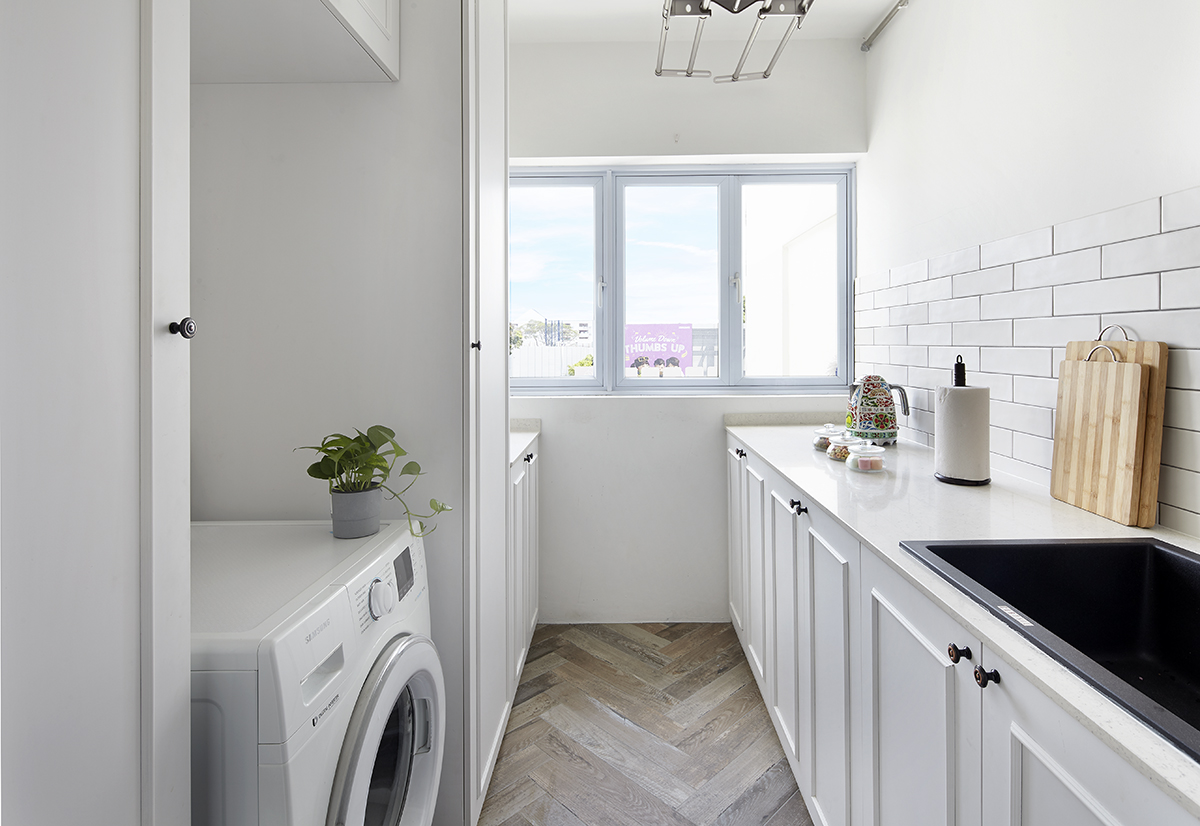 squarerooms Notion of W service yard kitchen all white laundry room countertops