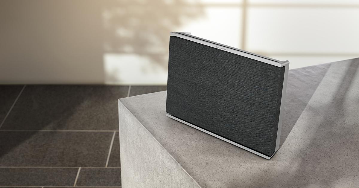 squarerooms bang and olufsen beosound level speaker audio sound new designer black grey minimalist table stone