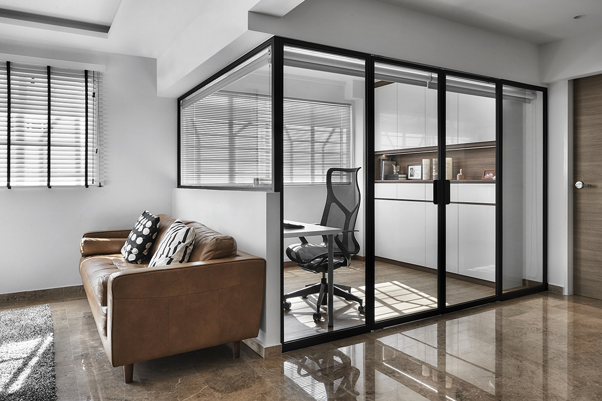 squarerooms richfield integrated interior design home renovation resale hdb flat scandinavian home office open space clear glass wall