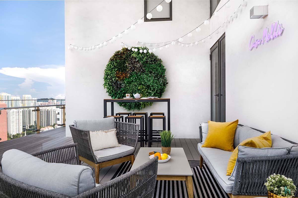 squarerooms home philosophy renovation 30K budget cost condo balcony green plant wall