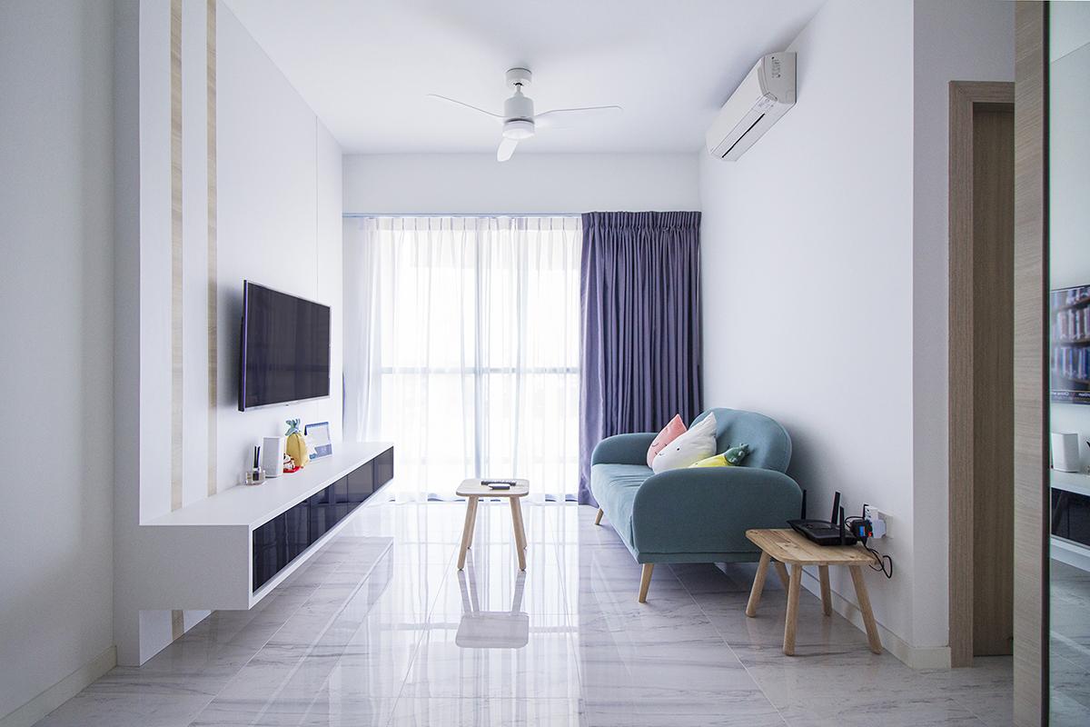 squarerooms noble interior design home renovation 24k budget cost reno bto flat minimalist white living room blue couch tv